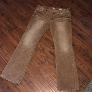 Brown distressed corduroy pants!  Arizona